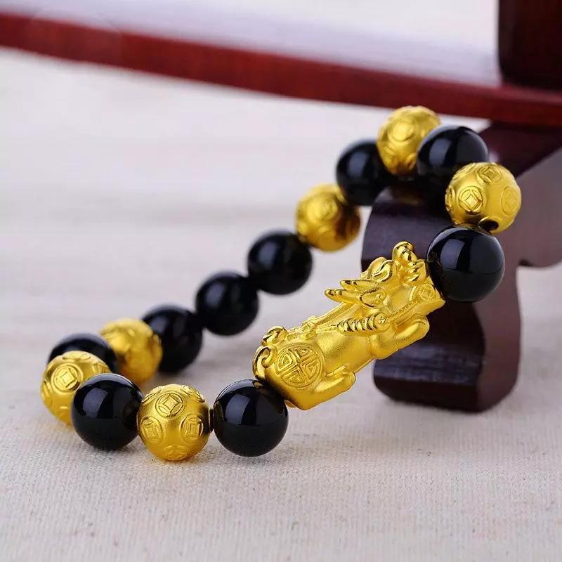 黄金皮丘(貔貅)手链的图片女