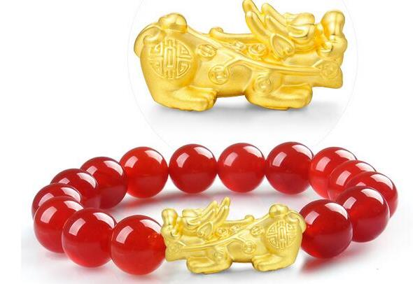黄金貔貅手链图片